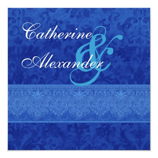 Royal Blue Damask and Lace Wedding Invitation