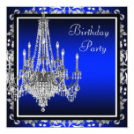 Royal Blue Damask Chandelier Birthday Party Invites