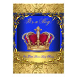 Royal Blue Damask Gold Crown Baby Shower Boy 4