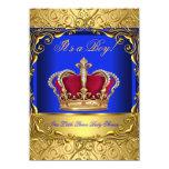 Royal Blue Damask Gold Crown Baby Shower Boy 4 Invitation