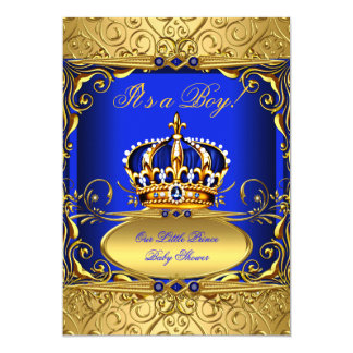 Royal Blue Damask Gold Crown Baby Shower Boy RB2 Card