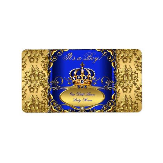 Royal Blue Damask Gold Crown Baby Shower Boy