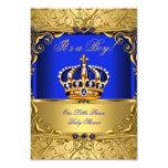 Royal Blue Damask Gold Crown Baby Shower Boy SMALL 9 Cm X 13 Cm Invitation Card
