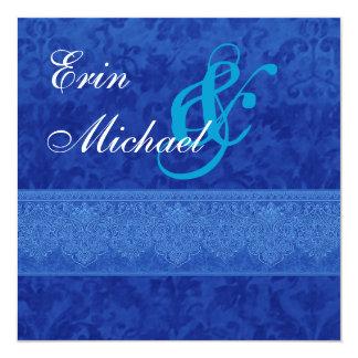 Royal Blue Damask Lace Wedding Template V12 13 Cm X 13 Cm Square Invitation Card