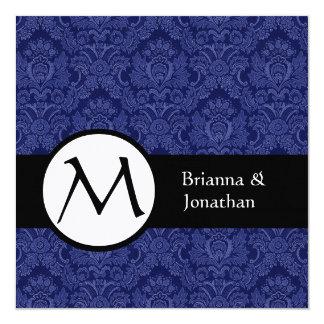 Royal Blue Damask Monogram Wedding Invitation