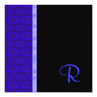 Royal Blue Damask Monogram Wedding Invitation