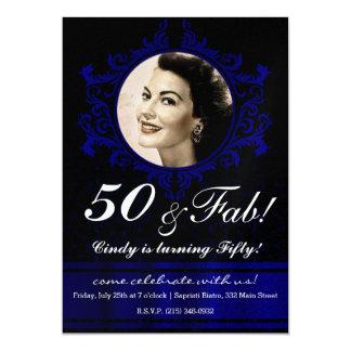 Royal Blue Damask Pattern Invitation Card 50th
