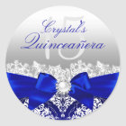 Royal Blue Damask & Pearl Bow Quinceanera Sticker