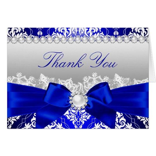 Royal Blue Damask & Pearl Bow Thank You