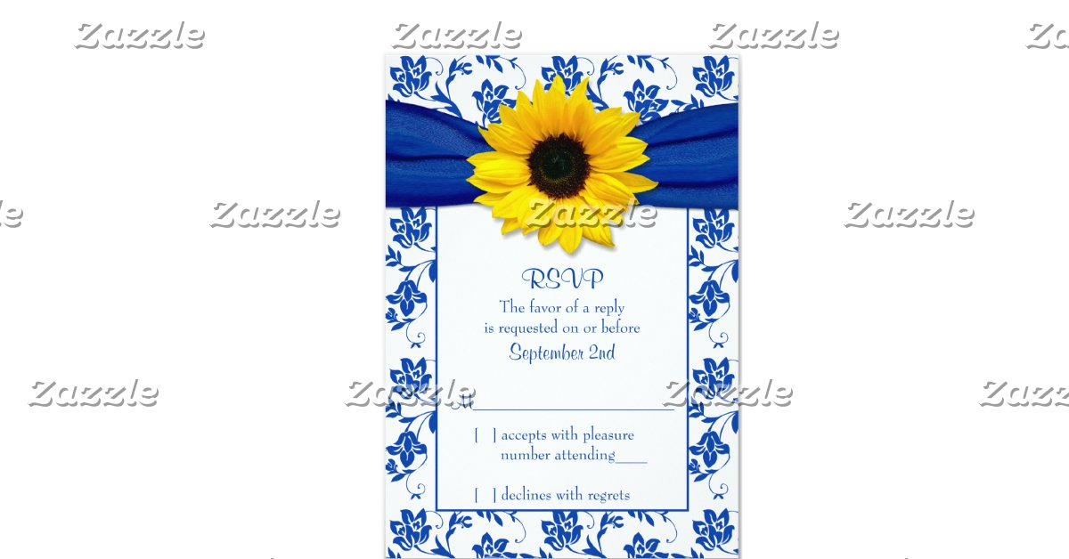 Royal blue damask sunflower wedding rsvp card 9 cm x 13 cm for Wedding invitations and rsvp cards all in one uk
