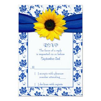 Royal Blue Damask Sunflower Wedding RSVP Card Custom Invitations