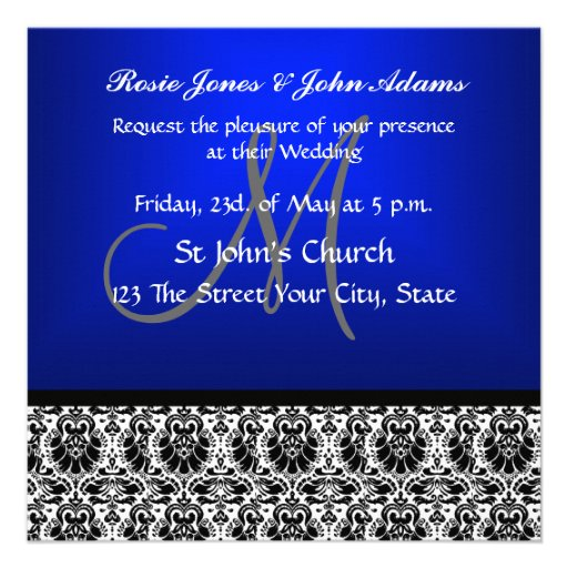 Royal Blue Damask Wedding Invitation Custom Invitation