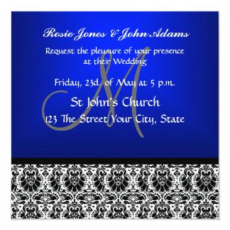 Royal Blue Damask Wedding Invitation