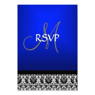 Royal Blue Damask Wedding RSVP 9 Cm X 13 Cm Invitation Card