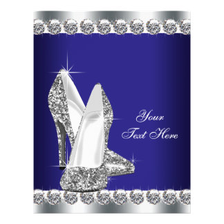 Royal Blue Diamond Glitter High Heel Shoe 21.5 Cm X 28 Cm Flyer