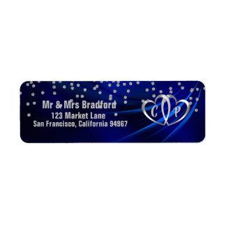 Royal Blue Diamonds/Hearts Wedding Return Address
