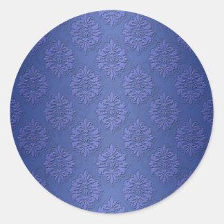 Royal Blue Double Damask Round Sticker