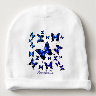 Royal Blue Elegant Whimsical Butterflies Baby Beanie