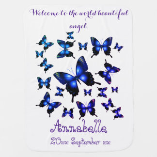 Royal Blue Elegant Whimsical Butterflies Baby Blanket