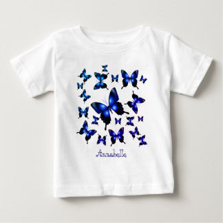 Royal Blue Elegant Whimsical Butterflies Baby T-Shirt