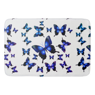 Royal Blue Elegant Whimsical Butterflies Bath Mat