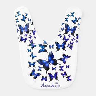 Royal Blue Elegant Whimsical Butterflies Bib