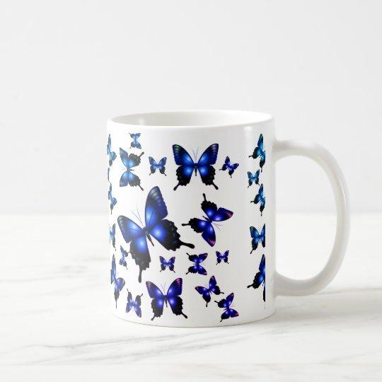 Royal Blue Elegant Whimsical Butterflies Coffee Mug