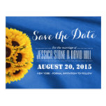 Royal Blue Fabric Sunflowers Save the Date Postcard