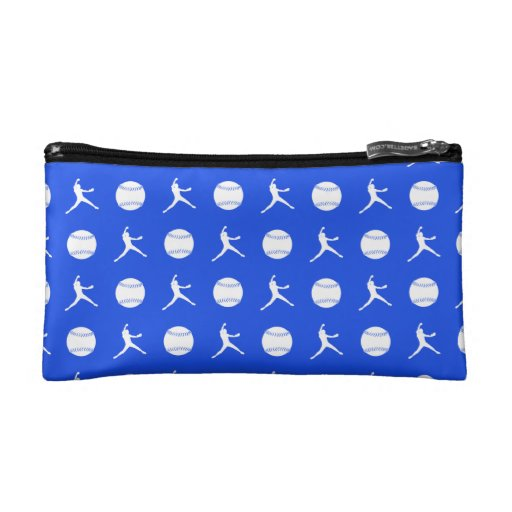 Royal Blue Fastpitch Pattern Clutch Cosmetic Bags