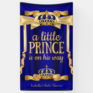 Royal Blue Faux Gold Foil Crown Baby Shower Banner