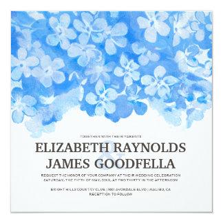 Royal Blue Flowers Wedding Invitations