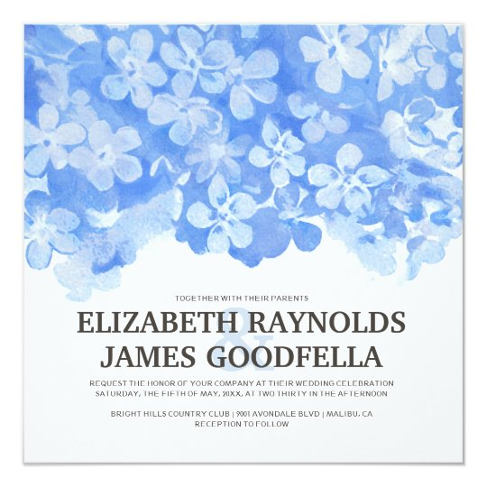 Royal Blue Flowers Wedding Invitations