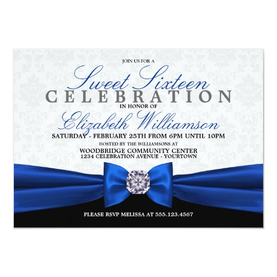 Royal Blue Formal Elegant Sweet 16 Invitation