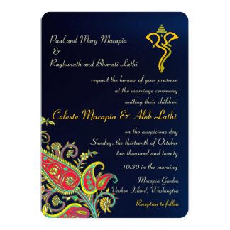 Royal Blue Ganesh Floral Paisley Hindu Wedding Card