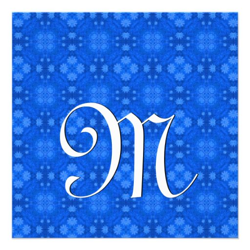 Royal Blue Geometric Wedding Monogram Template V03 Personalized Invitation