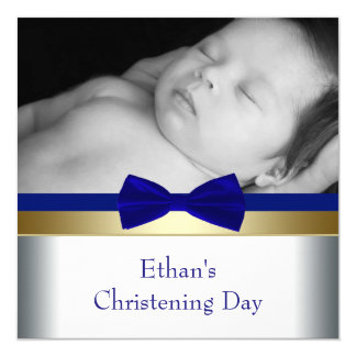 Royal Blue Gold Baby Boy Photo Christening 13 Cm X 13 Cm Square Invitation Card