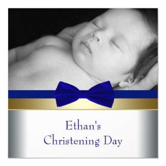 Royal Blue Gold Baby Boy Photo Christening Card