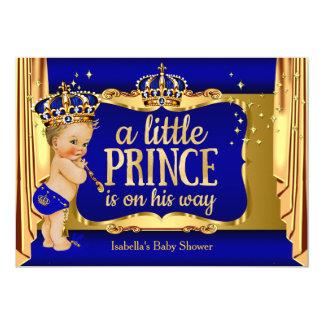 Royal Blue Gold Boy Prince Baby Shower Blonde 13 Cm X 18 Cm Invitation Card