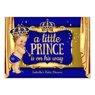 Royal Blue Gold Boy Prince Baby Shower Brunette 13 Cm X 18 Cm Invitation Card