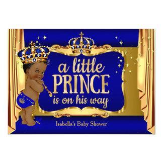 Royal Blue Gold Boy Prince Baby Shower Ethnic 13 Cm X 18 Cm Invitation Card