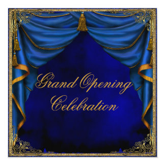Royal Blue Gold Corporate Business Grand Opening Card