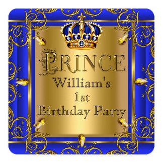 Royal Blue Gold Crown Prince 1st Birthday Boys 2 13 Cm X 13 Cm Square Invitation Card