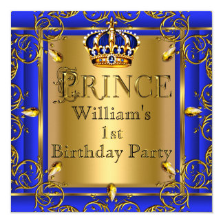 "Royal Blue Gold Crown Prince 1st Birthday Boys 2 5.25"" Square Invitation Card"