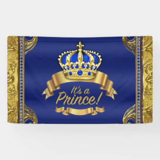 Royal Blue Gold Crown Prince Baby Shower Banner