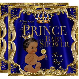 Royal Blue Gold Crown Prince Baby Shower Ethnic Card
