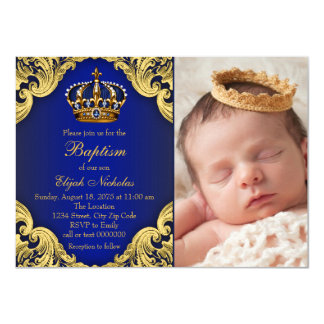 Royal Blue Gold Crown Prince Baptism Card