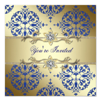Royal Blue Gold Damask Party Invitations