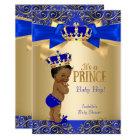 Royal Blue Gold Damask Prince Baby Shower Ethnic Card