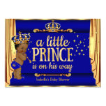 Royal Blue Gold Drapes Prince Baby Shower Ethnic 13 Cm X 18 Cm Invitation Card