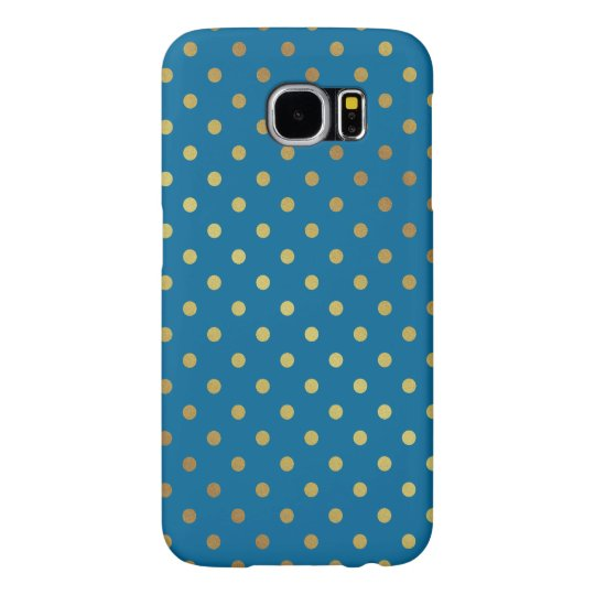 Royal Blue Gold Glitter Dots Adorable Pattern